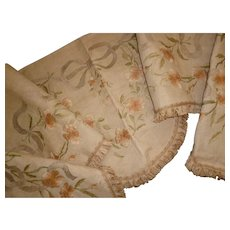 Splendid antique French hand embroidered  valance : pelmet : wild roses : rosebuds : ribbon & bow motifs