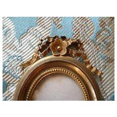 Pretty 19th C. French miniature brass photo frame : fashion doll accessory : floral motif