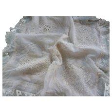 Exquisite 19th C. French boudoir pillow : cushion cover : hand embroidery : lace trim