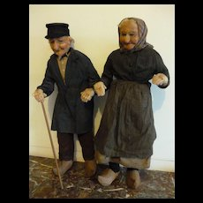 Large cloth character doll's  French peasant couple : regional clothing and clogs : 22 inches high