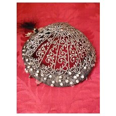 Rare early 19th C. beautiful cut steel cap : coiffe : headdress : glass beads : passementerie