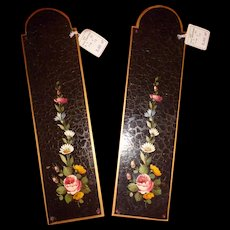 Pretty vintage French hand painted metal door plates : floral motifs : old shop stock with labels ( 2 )