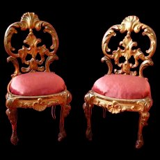 Darling pair French gilt metal chairs : silk cushions : doll size
