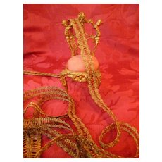 Opulent unused French gold metallic narrow passementerie trim : projects ( no. 1 )