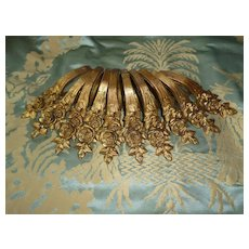 Faded grandeur antique French bronze dore curtain drape rings : rose motifs ( 10 )