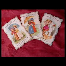 3 unusual 19th C. French advertising shop trade cards : children : silk inserts : Marie-Dumaine Caen