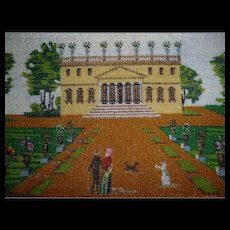 Charming 19th C. micro glass bead embroidery picture : promenade dans le parc
