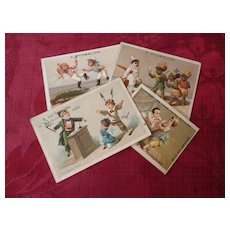 Collection amusing 19th C. French shop advertising trade cards : children ( 4 )