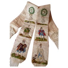 Exquisite 19th C. French gentlemans hand embroidered silk figural braces : suspenders : monograms
