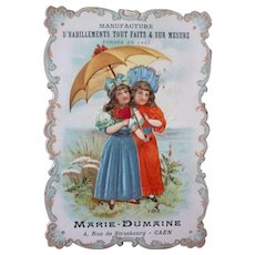 Charming 19th C. French embossed trade card : young girls : silk fabric