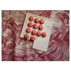 12 old French pink colored silk thread covered buttons : unused still on card : projects