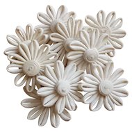 Pretty old French hand made white daisy flowers : doll projects : 9 flowers