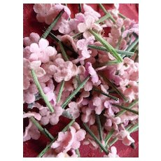 Collection of tiny pink flowers : old French millinery shop stock : doll projects
