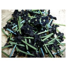 Collection of tiny black flowers : old French millinery shop stock : doll projects