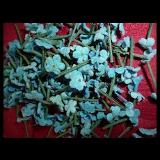 Collection of tiny light blue forget me not  flowers : old French millinery shop stock : doll projects