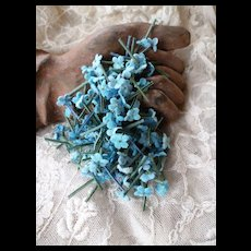 Batch of mixed blue forget me not flowers : old French millinery shop stock : doll projects