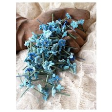Batch of tiny mixed blue forget me not flowers : French millinery shop stock circa 1900 : doll projects