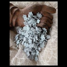 Batch tiny light blue forget me not flower heads : old French millinery shop stock : projects