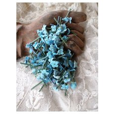 Batch tiny mixed blue forget me not flowers : old French millinery shop stock : doll projects