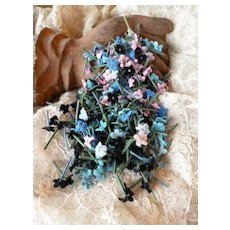 Batch of tiny pink blue black forget me not flowers : old French millinery shop stock : doll projects
