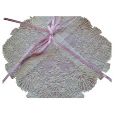 Exquisite 19th C. French hand embroidered wedding handkerchief : lace : museum quality