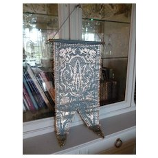 Decorative vintage French religious blue silver metallic fabric banner AM : rose and lily motifs