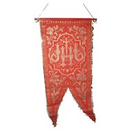 Faded grandeur vintage French red gold metallic religious banner : IHS: rose and lily motifs