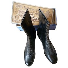 Delicious pair 19th C French ladies leather boots : never worn superb condition