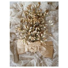Delicious faded grandeur French brides large wax wedding bouquet :silk bow