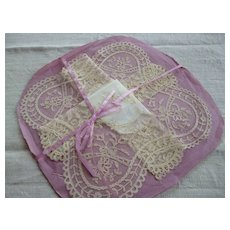 Beautiful 19th C. French tulle lace hanky: handkerchief : unused with original paper and ribbon