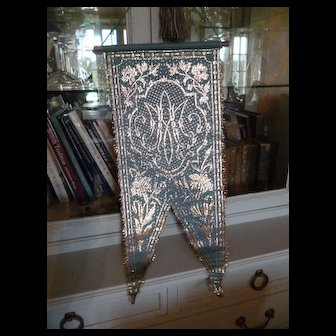 Decorative vintage French religious blue banner : silver metallic thread : AM : rose and lily motifs