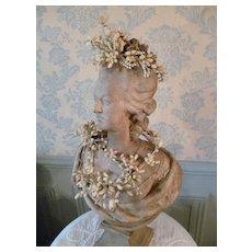 Delicious antique French bride's wax wedding parure : crown : corsage : garland : brooch