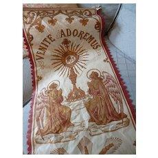 Decorative vintage French religious banner angels : VENITE  ADOREMUS