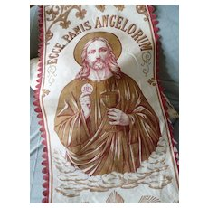 Decorative vintage French banner : Jesus : ECCE PANIS ANGELORUM motifs