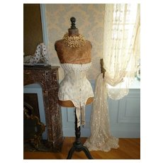 Curvy antique French ladies wasp waist cream corset : blue foliage motifs : lace : ribbon