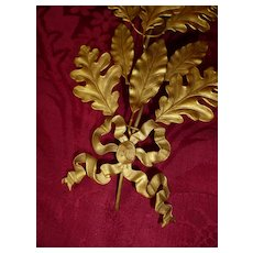 Decorative vintage French gilt metal award branch : medal : ribbon bow
