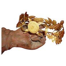 Decorative vintage French gilt metal crown : ribbon bow : medallion