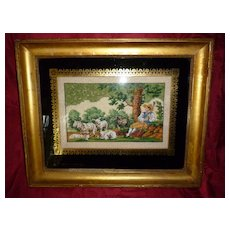 Charming 19th C. French  bead work embroidery : shepherd : dog : sheep motifs: signed eglomise glass mat