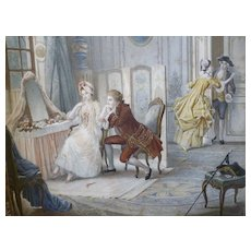 Decorative antique French engraving : 18th century style boudoir romantic scene : Lionel Peraux 1897