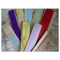 Bundle 19th C. French narrow silk ribbons : doll clothing & hat projects ( 9 )