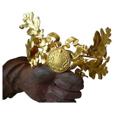 Delicious old French gilt metal laurel oak leaf crown : ribbon bow : angel motif