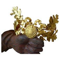 Delicious old French gilt metal laurel oak leaf crown : ribbon bow : angel motif