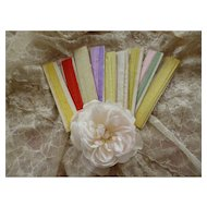 Bundle 19th C. French narrow silk ribbons :  doll clothing & hat projects ( 9 cards )