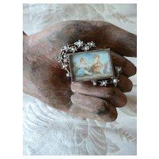Charming 19th C. French silver gilt brooch : cherub miniature painting : seed pearls