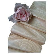 Superb French cream & rose pink moire shot silk ribbon : old stock : St Etienne : doll projects : 94 inches