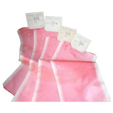 4 delicious antique French shocking pink & ivory ombré silk ribbon : old stock samples : doll projects