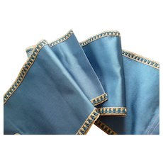 Pretty antique French blue silk ribbon with decorative edging : old stock sample : doll projects
