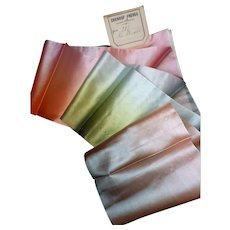 3 iridescent antique French pink : green : blue ombré silk ribbons : old stock samples : original label