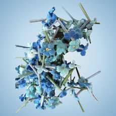 Batch tiny mixed blue forget me not flowers : French millinery shop stock circa 1900 : doll projects
