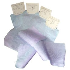 4 pretty French blue & mauve shot silk moire ribbons : old stock samples : doll projects